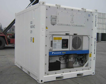 A refrigerated storage container.